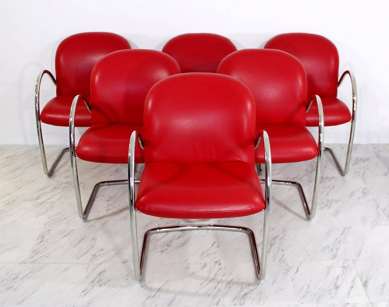 Miraculous Mid Century Modern Set 6 Brueton Chrome Red Leather Dining Arm Chairs Baughman Dailytribune Chair Design For Home Dailytribuneorg