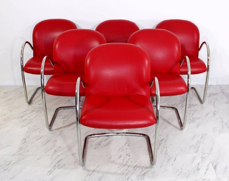 b995aaafddcf Mid Century Modern Set 6 Brueton Chrome Red Leather Dining Arm