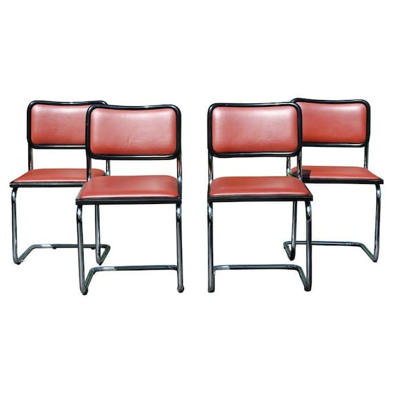 Amazing Mid Century Modern Marcel Breuer Set 4 Cantilever Chrome Side Chairs Italy Dailytribune Chair Design For Home Dailytribuneorg