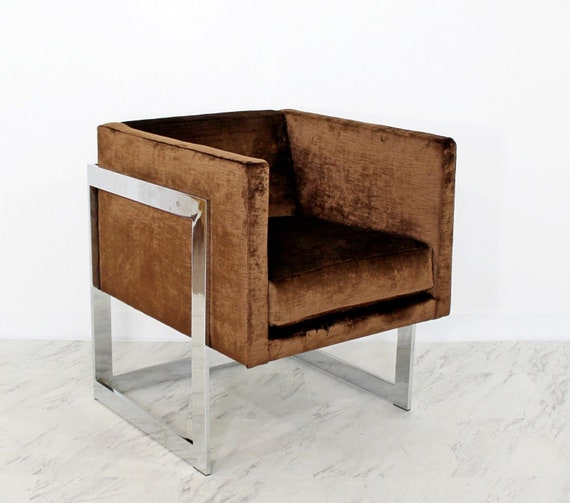 Marvelous Mid Century Modern Brown Velvet Chrome Cube Lounge Accent Chair Baughman 1970S Dailytribune Chair Design For Home Dailytribuneorg