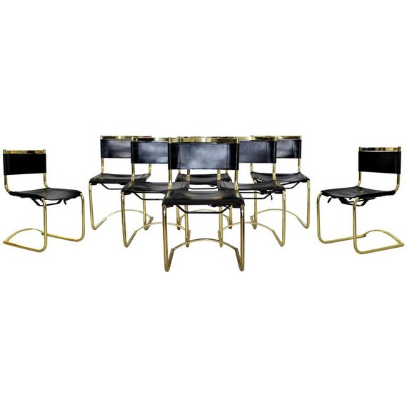 Admirable Mid Century Modern 8 Brass Black Leather Side Dining Chairs Breuer Mies Era Creativecarmelina Interior Chair Design Creativecarmelinacom