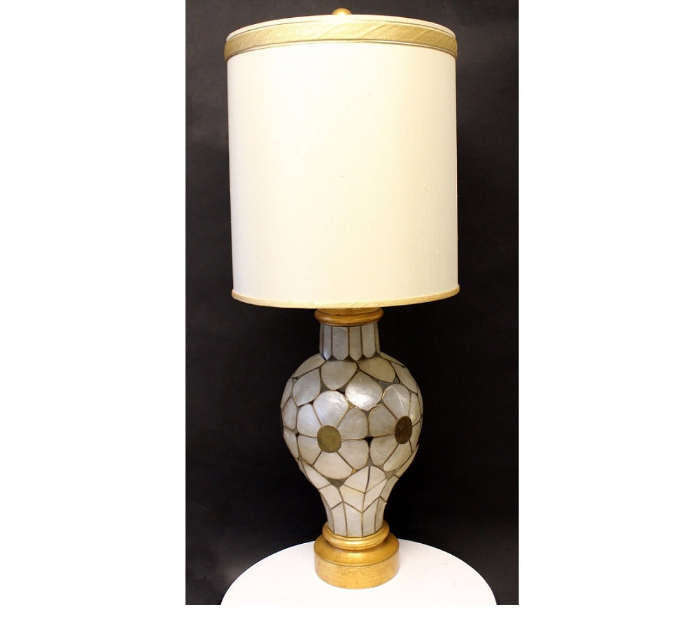 Mid Century Rembrandt Lamp: Mid Century Modern Rembrandt Capiz Shell Floral Table Lamp