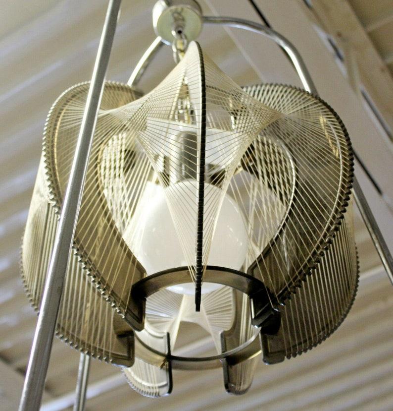 Mid Century Modern String Wire Art Swag Chrome Chandelier Light Fixture 1960s