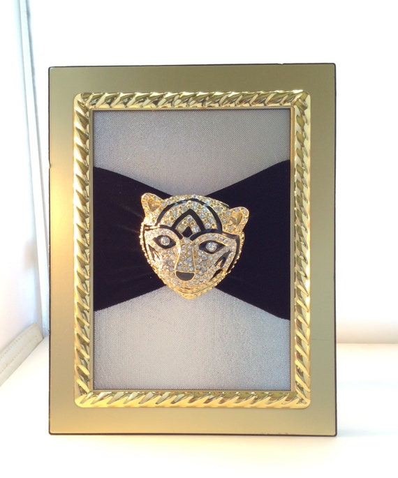 Vintage brooch art, Large tiger or cat brooch, rh… - image 2