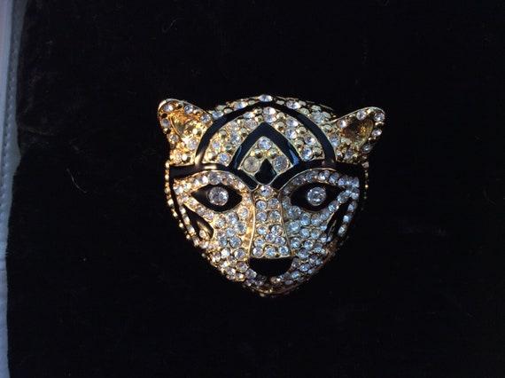 Vintage brooch art, Large tiger or cat brooch, rh… - image 4