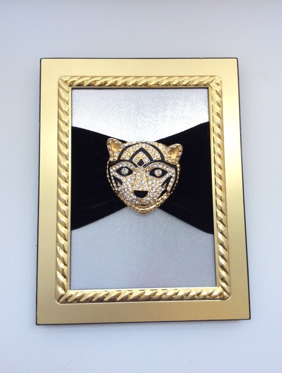 Vintage brooch art, Large tiger or cat brooch, rh… - image 1
