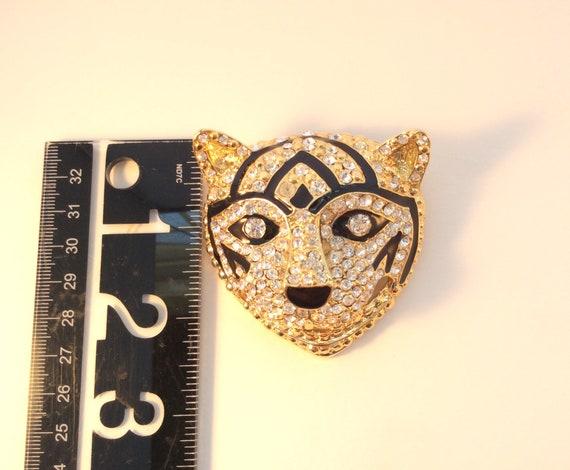 Vintage brooch art, Large tiger or cat brooch, rh… - image 5