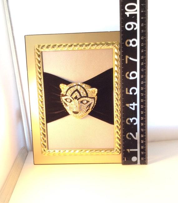 Vintage brooch art, Large tiger or cat brooch, rh… - image 8
