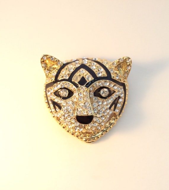 Vintage brooch art, Large tiger or cat brooch, rh… - image 6