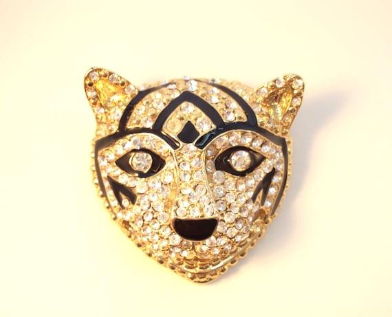 Vintage brooch art, Large tiger or cat brooch, rh… - image 3
