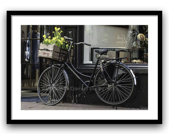 Bicycle Photography, Spring decor, Fine Art Print, Black and Yellow decor, Flowers, Amsterdam, Rustic Wall Art, Home Decor
