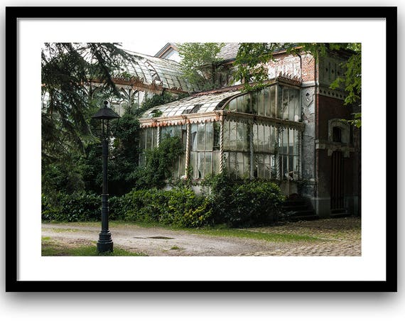Fine art photography, Urban Decay. Abandoned Greenhouse, 5x7, 8x10 Wall Decor, Home Decor, Abandoned, Green, Brown, Fine art print