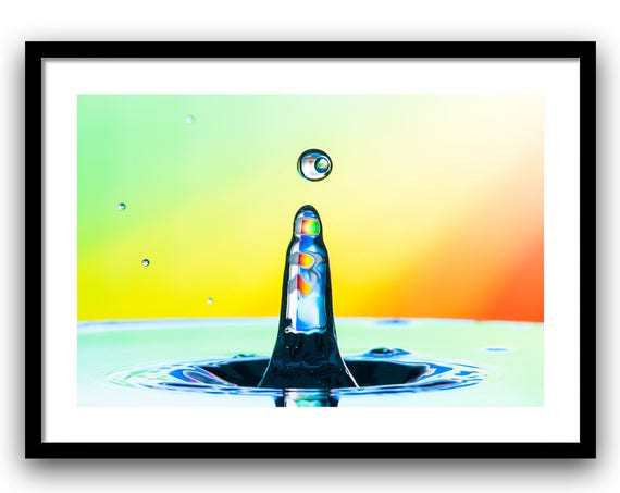 Art For Kids, Water Drop Photography, Kids Wall Art, Surreal Photography, Water Drop Collision, Bedroom Art, Yellow Orange, Green Blue
