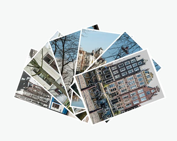 Set of 6 Postcards, Amsterdam Wall Decor, Fine Art Photography, Living Room Decor, 4x6 Prints, Bicycle Canal Houses, Amsterdam Postcards