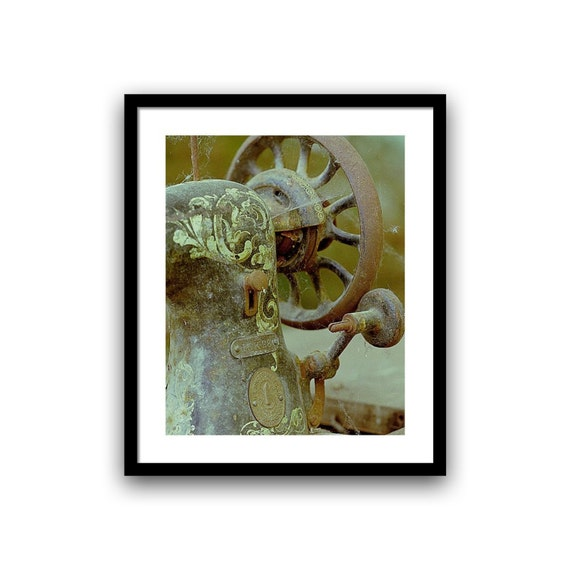 Craft Room Wall Art, Sewing Machine Decor, Urban Decay, Living Room Decor, Fine Art Photography, Singer Art, Brown Green Rusty 5x7-12x16