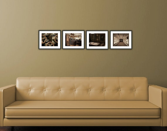 Set of 4 Prints, Livingroom, Fine Art Photography, Wall Art Livingroom, Industrial Decay , Livingroom, Home Decor Gift Set, Brown