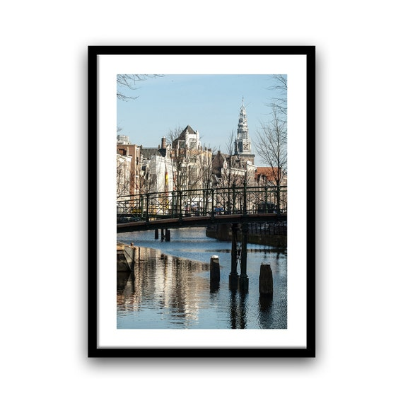 Bridge Photography, Amsterdam Photography, Canal Houses, Water reflection, Fine Art Print, Rustic Decor, Wall Art