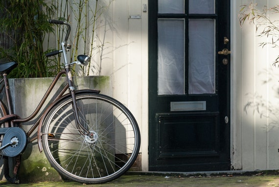 Amsterdam Photography, Bicycle Photograph, Fine Art Print, Urban Decor, Rustic Wall Art