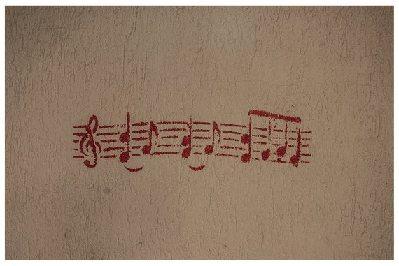 Fine art photograph, fine art print, Red Wall Music Notes, Graffiti, Home decor, 5x7, 8x11, Art Print