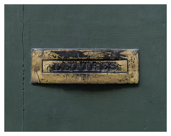 Fine art photography, mailbox, 5x7, 8x10, Giclée print, green, brass, fine art photograph, Wall art, Home Decor