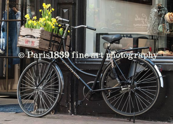 Amsterdam Wall Decor, Daffodil Photo Print, Bicycle Art Print, Amsterdam Photo, Bicycle Wall Art, Fine Art Photography, Amsterdam Art