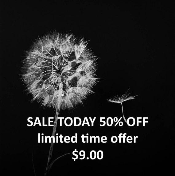 Fine Art Photography, Dandelion Print, Black and White Home Decor, Dandelion Photography, Wall Art Nature Photography 5x5 8x8 12x12 SALE 50%