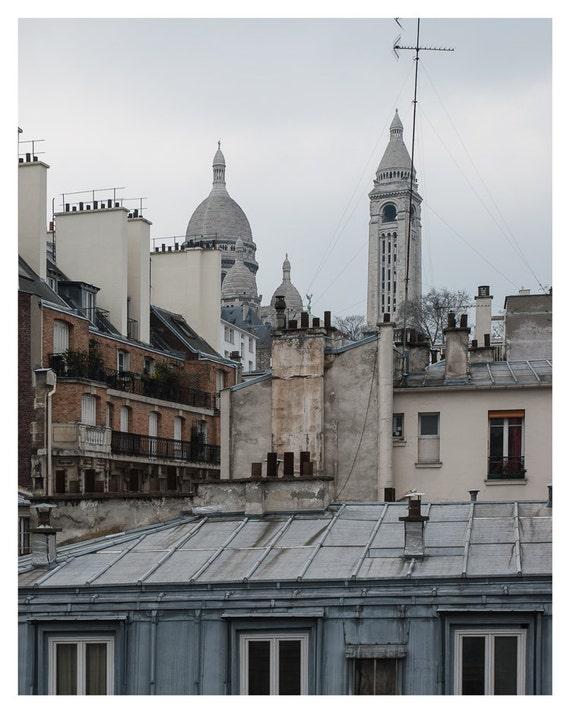 Paris decor, Photography, Basilique du Sacre Coeur, France, Fine art print, View from balkony, 5x7, 8x10, reddish