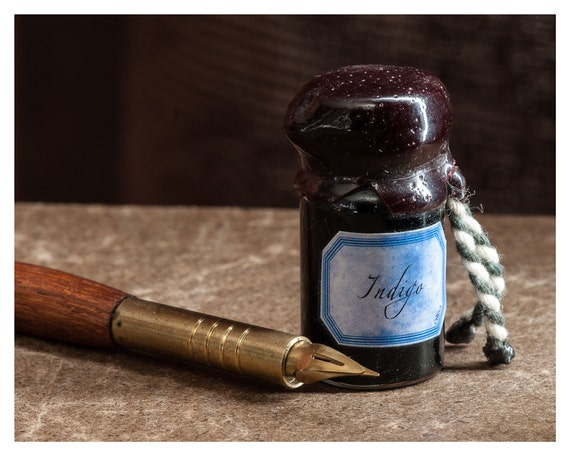 Still Life Photography, Rustic wall decor, Fine art print, Dip Pen & Inkwell, 5x7, 8x10, Blue, Brown, Indigo
