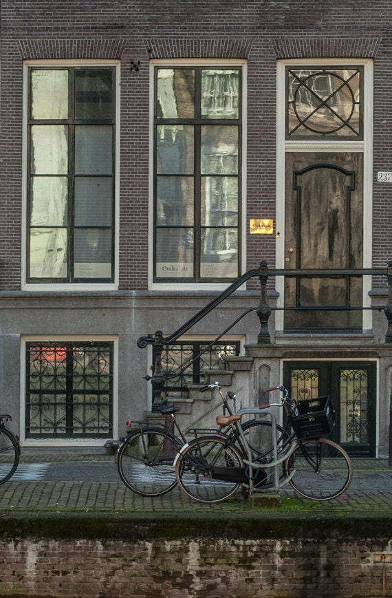 Bicycle photo, Architecture Photograph, Amsterdam Photography, Window reflection, Fine Art Print, Rustic Decor, Wall Art