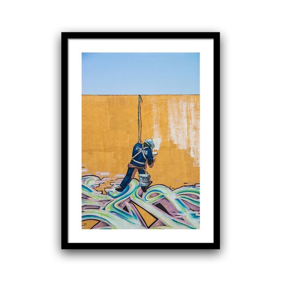 Grafitti Art, Street Art Print, Urban Art, Home Decor, Grafitti Wall Art, Graffiti Art, Travel Photography, Fine Art Print, 5x7 8x10, Blue