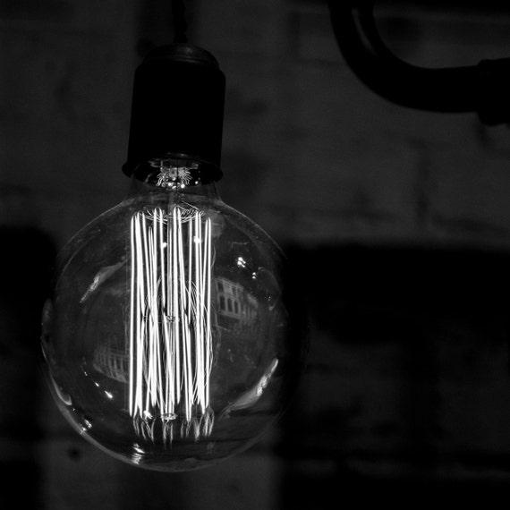 Fine art print, glowing light bulb, Giclee print, fine art photography, Black and White, 6x6 inch, 8x8 inch, Wall Decor, Home Decor