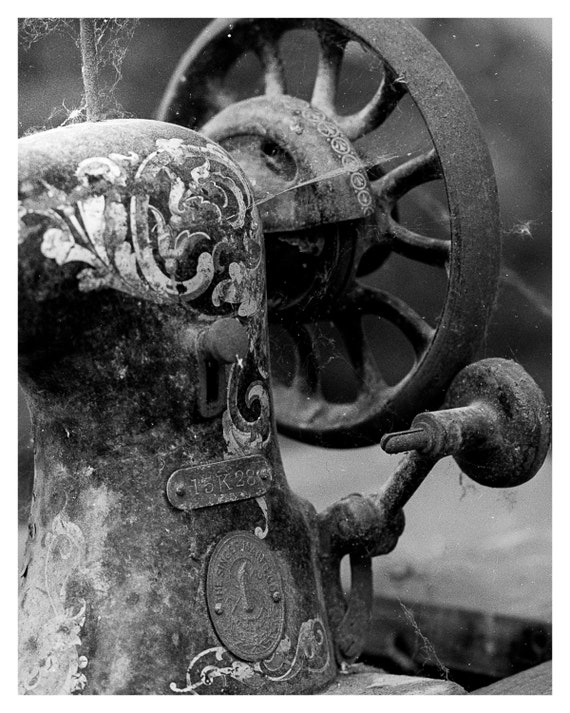 Old Sewing Machine, Fine Art Photography, Black and White, Urban Decay photography, Abandoned Industrial, Macro Photo, Home Decor, 5x7 8x10