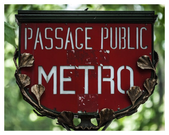 Fine art print, Fine art photography Paris Metro Sign, 5x7, 8x10, Wall art, Home Decor, red, green