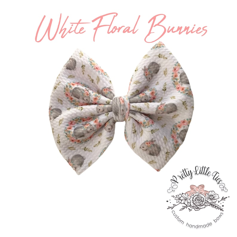Floral Bow Bullet Fabric Bow Liverpool Bow Messy Bow Fabric Bow White Floral Bunnies