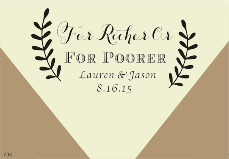Custom Wedding Stamp For Richer Or Poorer Favor