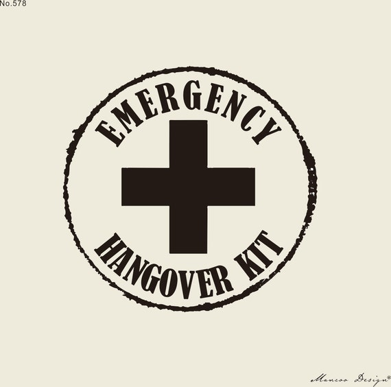Hangover Kit Rubber Stamp Wedding Hotel Bag