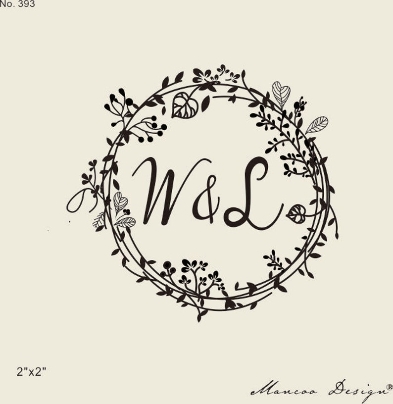 Wedding Stamps Floral Frames Rubber Stamp Custom Initial