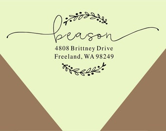 return address-custom stamp-alligraphy Script Address stamp-  custom Return Address Stamp, Self-Inking Address Stamp -custom rubber stamp