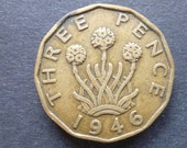 Great BritainThreepence coin 1946 in good used (circulated) condition, Nickel Brass, ideal gift or for jewellery or craftmaking projects.