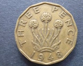 Great BritainThreepence coin 1948 in good used (circulated) condition, Nickel Brass, ideal gift or for jewellery or craftmaking projects.