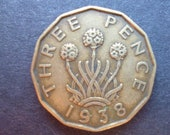Great BritainThreepence coin 1938 in good used (circulated) condition, Nickel Brass, ideal gift or for jewellery or craftmaking projects.