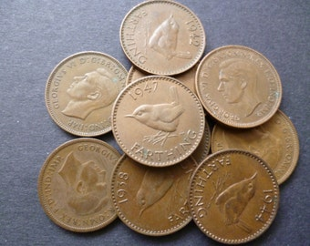 Farthings a pack of ten Wren Farthing Coins ideal for Jewellery making or collecting.