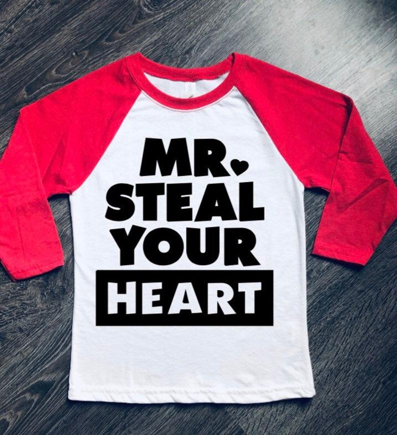 1eb674c7c Mr. Steal Your Heart Valentine Shirt Boy's Valentine | Etsy