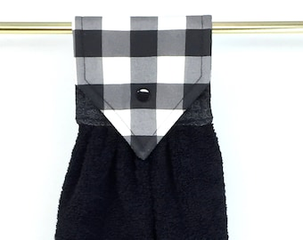 Hanging Kitchen Towel, Buffalo Plaid Hanging Hand Towel, Checked Stay Put Hanging Towel, Black White Buffalo Plaid Oven Towel