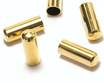 findings ENC6 2445 ends cap 8x15mm 6.1mm inner raw brass cord  tip ends ribbon end caps