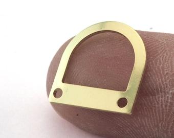 Ushape semi circle 30x15x0.8mm raw brass   SCS 158 9 holes
