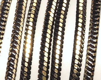 Square snake chain 1 mm black antique brass sparkle bright faceted