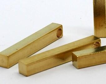 "Raw brass bar 4 pcs 5x35mm 3/16""x1 3/8""  square stamping bar square rod (3.5mm 9/64"" 7.5 gauge hole ) sbl535-1100"