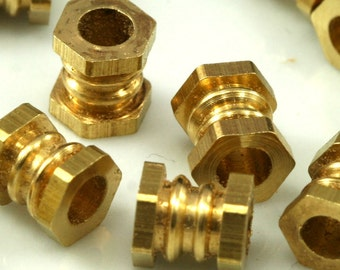 15 pcs 7x6 mm (hole 3.3 mm) raw brass cylinder industrial brass findings spacer bead bab3 1529