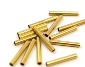 Raw Brass Tube 25 Pcs 21 x 3 mm (hole 2.4 mm) industrial brass Charms,Pendant,Findings spacer bead E213Y24